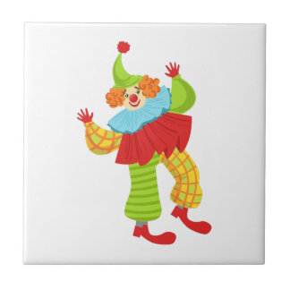 Colorful Friendly Clown In Ruffle To Classic Outfi Ceramic Tile