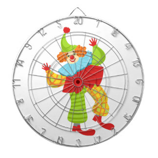 Colorful Friendly Clown In Ruffle To Classic Outfi Dartboard