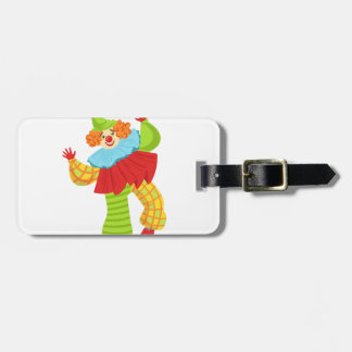 Colorful Friendly Clown In Ruffle To Classic Outfi Luggage Tag