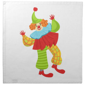 Colorful Friendly Clown In Ruffle To Classic Outfi Napkin