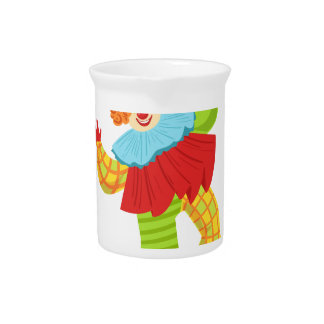 Colorful Friendly Clown In Ruffle To Classic Outfi Pitcher