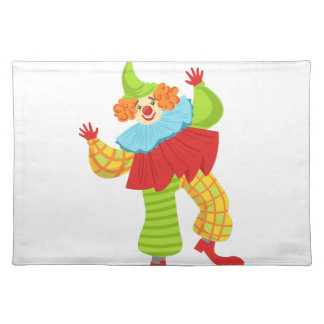 Colorful Friendly Clown In Ruffle To Classic Outfi Placemat