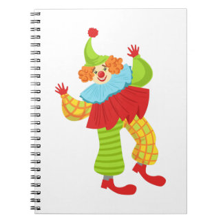 Colorful Friendly Clown In Ruffle To Classic Outfi Spiral Notebook