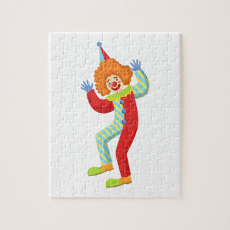 Colorful Friendly Clown Performing In Classic Outf Jigsaw Puzzle