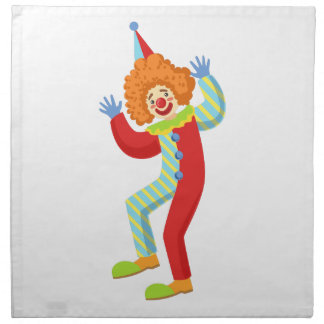 Colorful Friendly Clown Performing In Classic Outf Napkin