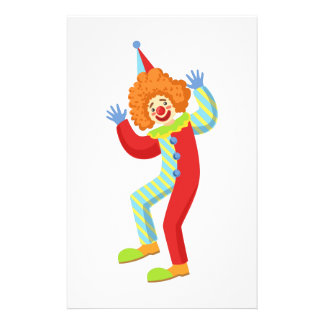 Colorful Friendly Clown Performing In Classic Outf Stationery