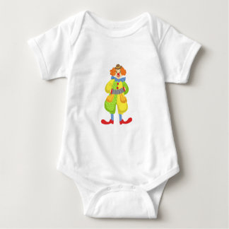 Colorful Friendly Clown Playing Accordion In Class Baby Bodysuit