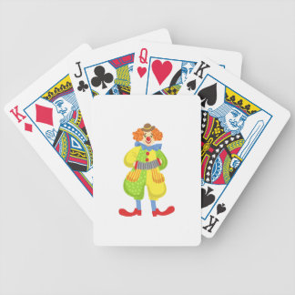 Colorful Friendly Clown Playing Accordion In Class Bicycle Playing Cards