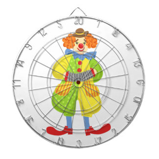 Colorful Friendly Clown Playing Accordion In Class Dartboard