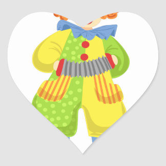 Colorful Friendly Clown Playing Accordion In Class Heart Sticker