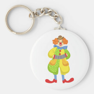 Colorful Friendly Clown Playing Accordion In Class Key Ring