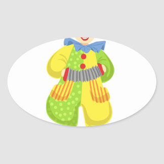 Colorful Friendly Clown Playing Accordion In Class Oval Sticker