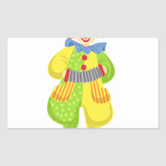 Colorful Friendly Clown Playing Accordion In Class Rectangular Sticker