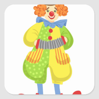 Colorful Friendly Clown Playing Accordion In Class Square Sticker