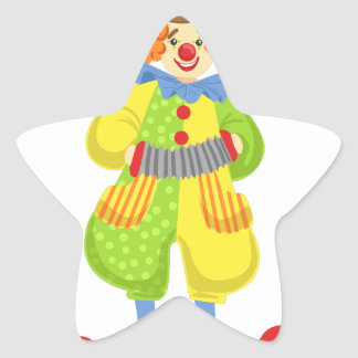 Colorful Friendly Clown Playing Accordion In Class Star Sticker