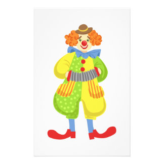 Colorful Friendly Clown Playing Accordion In Class Stationery