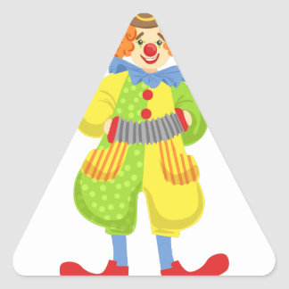 Colorful Friendly Clown Playing Accordion In Class Triangle Sticker