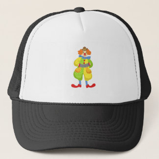 Colorful Friendly Clown Playing Accordion In Class Trucker Hat