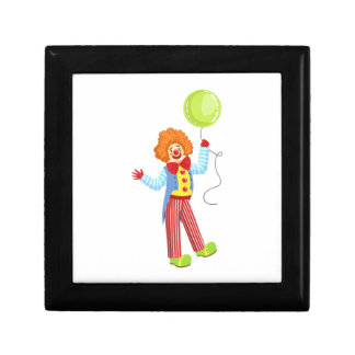 Colorful Friendly Clown With Balloon In Classic Ou Gift Box
