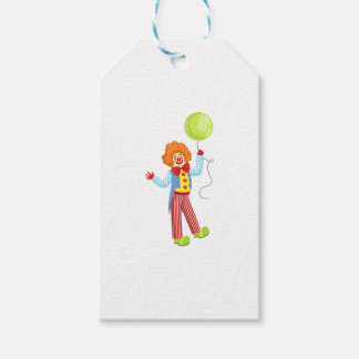 Colorful Friendly Clown With Balloon In Classic Ou Gift Tags