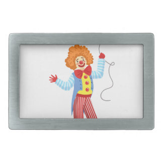 Colorful Friendly Clown With Balloon In Classic Ou Rectangular Belt Buckle