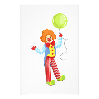 Colorful Friendly Clown With Balloon In Classic Ou Stationery