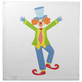 Colorful Friendly Clown With Curled Shoes In Class Napkin