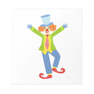 Colorful Friendly Clown With Curled Shoes In Class Notepad