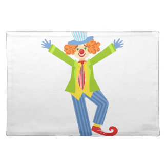Colorful Friendly Clown With Curled Shoes In Class Placemat
