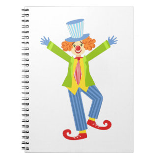 Colorful Friendly Clown With Curled Shoes In Class Spiral Notebook