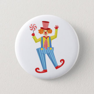 Colorful Friendly Clown With Lollypop In Classic O 6 Cm Round Badge