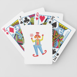 Colorful Friendly Clown With Lollypop In Classic O Bicycle Playing Cards