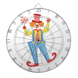 Colorful Friendly Clown With Lollypop In Classic O Dartboard