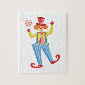 Colorful Friendly Clown With Lollypop In Classic O Jigsaw Puzzle