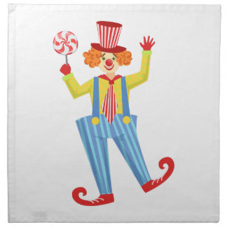 Colorful Friendly Clown With Lollypop In Classic O Napkin
