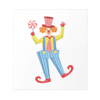 Colorful Friendly Clown With Lollypop In Classic O Notepad