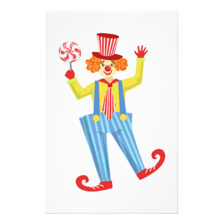 Colorful Friendly Clown With Lollypop In Classic O Stationery