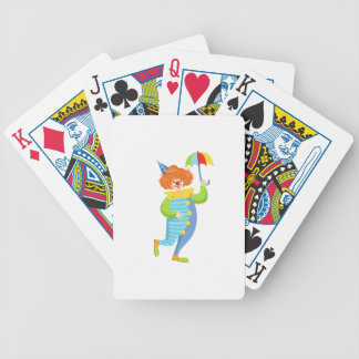Colorful Friendly Clown With Mini Umbrella Bicycle Playing Cards
