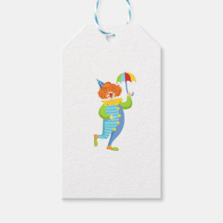 Colorful Friendly Clown With Mini Umbrella Gift Tags