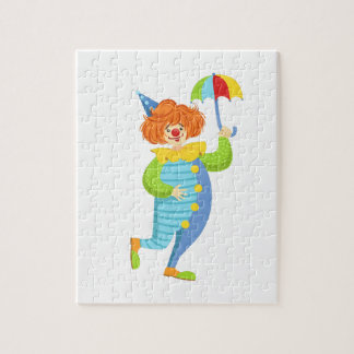 Colorful Friendly Clown With Mini Umbrella Jigsaw Puzzle
