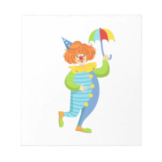 Colorful Friendly Clown With Mini Umbrella Notepad