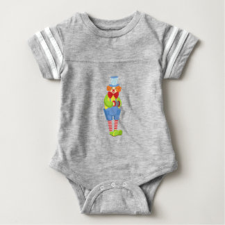 Colorful Friendly Clown With Miniature Accordion I Baby Bodysuit