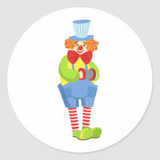 Colorful Friendly Clown With Miniature Accordion I Classic Round Sticker