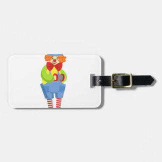 Colorful Friendly Clown With Miniature Accordion I Luggage Tag