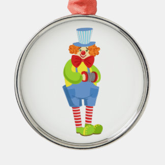 Colorful Friendly Clown With Miniature Accordion I Metal Ornament