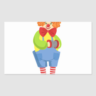 Colorful Friendly Clown With Miniature Accordion I Rectangular Sticker