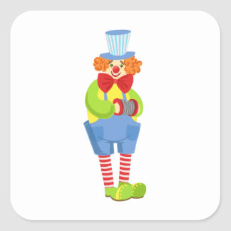Colorful Friendly Clown With Miniature Accordion I Square Sticker