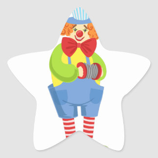 Colorful Friendly Clown With Miniature Accordion I Star Sticker