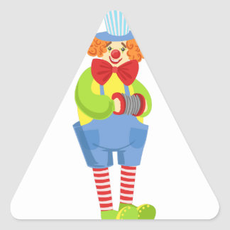 Colorful Friendly Clown With Miniature Accordion I Triangle Sticker