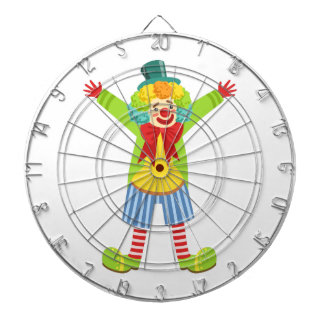 Colorful Friendly Clown With Multicolor Dartboard